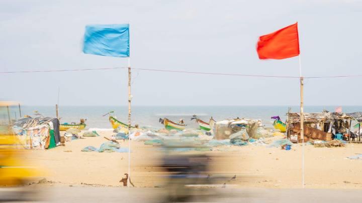 Bateaux sur la plage de Chennai