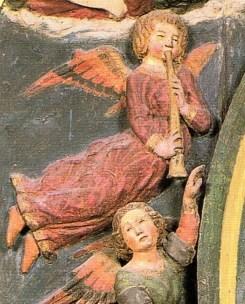 Chiesa di San Giorgio a Montemerano: particolare della Madonna assunta di Lorenzo di Pietro detto il Vecchietta (ca. 1460)