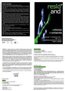 Resid'AND Antonio Montanile programma