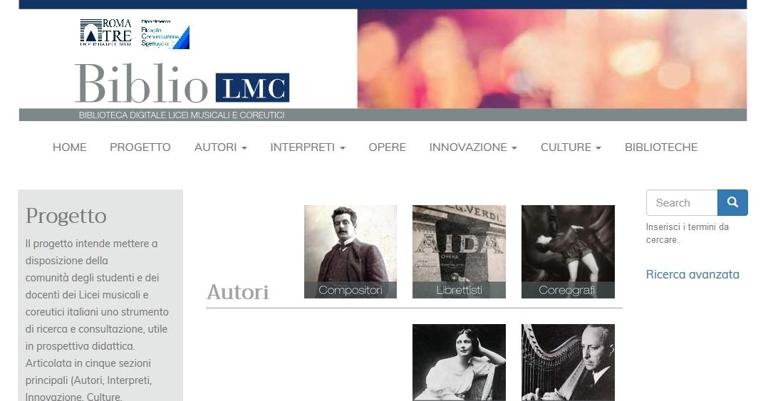"Online ""Biblio LMC – Biblioteca digitale per i licei musicali e coreutici"""