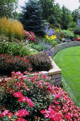 Retaining Wall and Perennials
