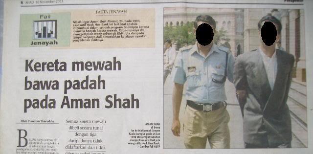 keratan akhbar kes aman shah