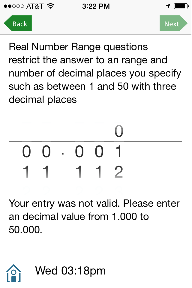 Restricted real number rnage