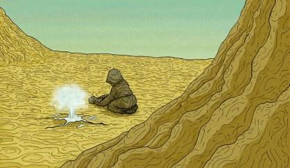Una mujer con un bebé descubre un pozo en el desierto