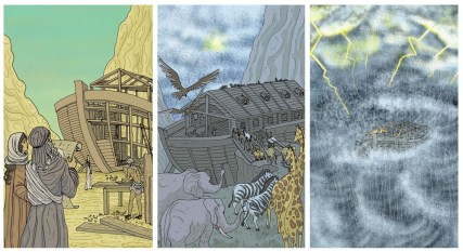 Secuencia en viñetas que narra la historia del arca de Noé