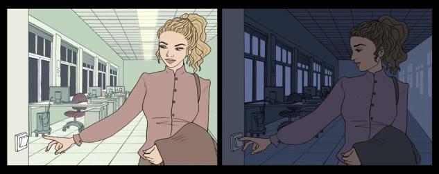 Dos viñetas. Una mujer apaga las luces antes de irse de la oficina.