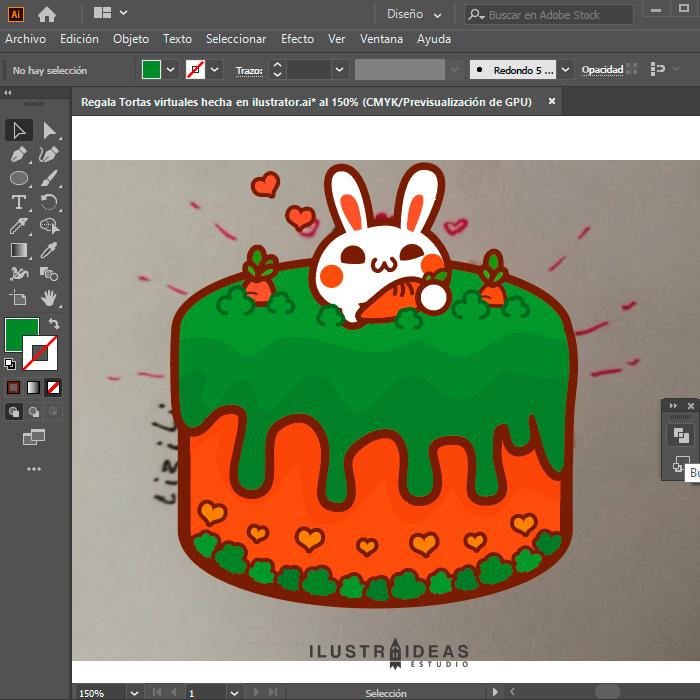 Regala Tortas virtuales hechas en ilustrator