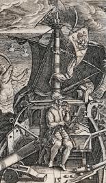 Idealización del descubridor. Théodore de Bry, 1594.