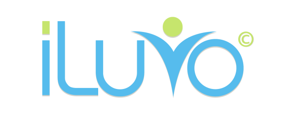 iLuvo Full Logo spelling iLuvo in Light Blue and Light Green text.