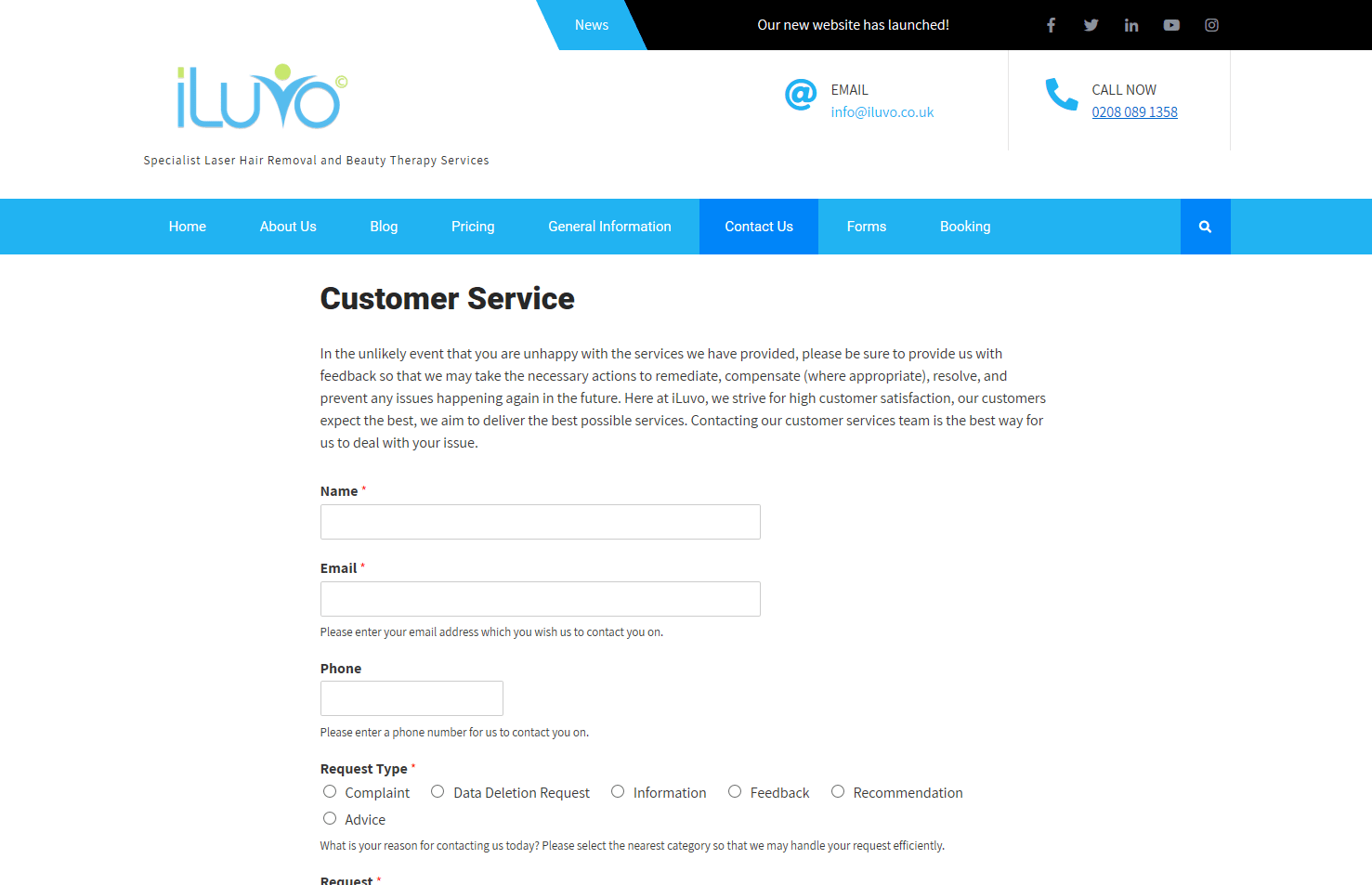 A screenshot of one of our new electronic forms developed for the new iLuvo website.