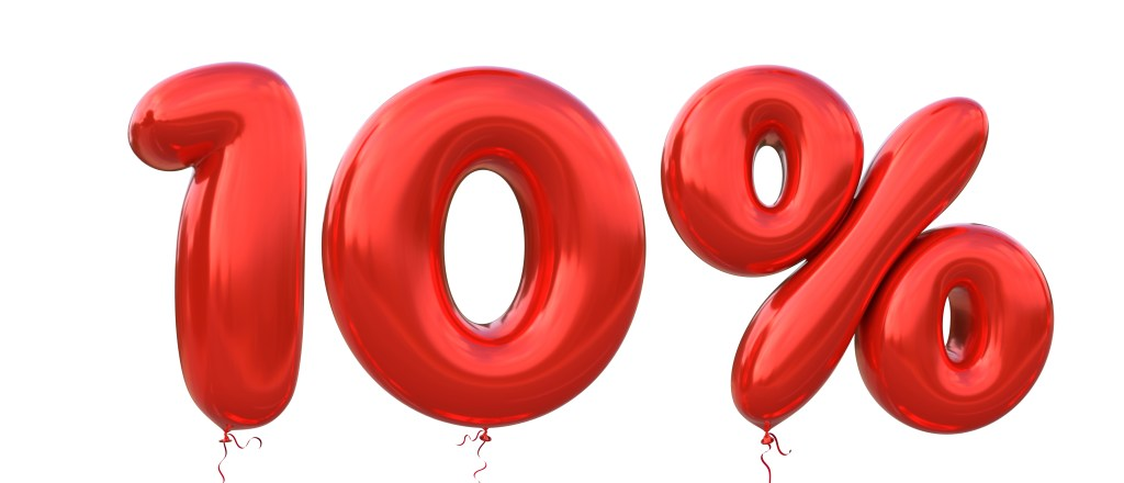 An illustration showing red balloons showing the letters 10%