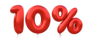 An illustration showing red balloons showing the letters 10%. Laser Skin Treatment.