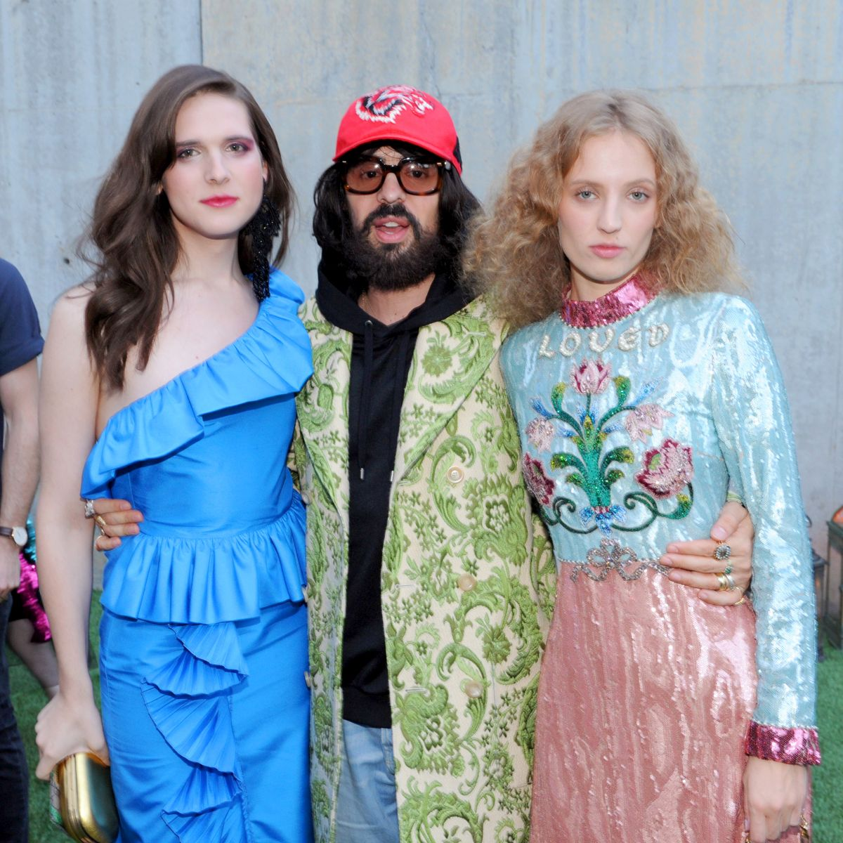 NEW YORK, NY - MAY 02: Model Hari Nef, Gucci Creative Director Alessandro Michele and Artist Petra Collins attend the Gucci Bloom Fragrance Launch at MoMA PS.1 on May 2, 2017 in New York City. (Photo by Craig Barritt/Getty Images for Gucci)