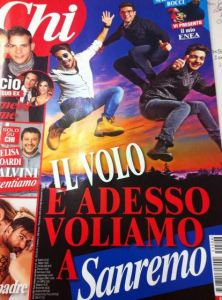 "Todays Chi Magazine cover.  ""Il Volo and now we fly to Sanremo""."