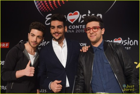 VIENNA, AUSTRIA - MAY 17: Gianluca Ginoble, Ignazio Boschetto and Piero Barone of Italy pose prior to a meet and greet with the press ahead of the Eurovision Song Contest 2015 on May 17, 2015 in Vienna, Austria. (Photo by Nigel Treblin/Getty Images)