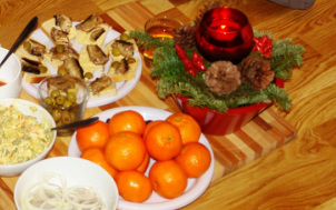 Tangerines on Christmas Eve table