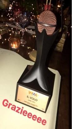 att award Il Volo - Gold Award for audience attendance 6/5-6/17 Verona