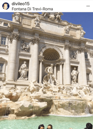 Lenora Ginoble post of Trevi Fountain