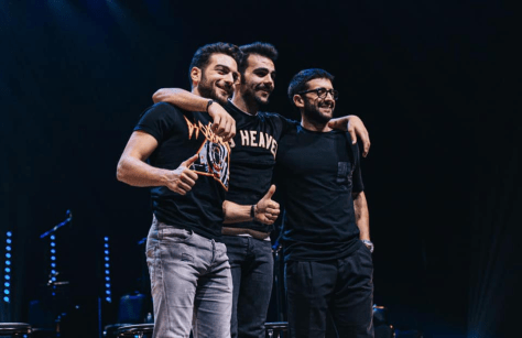 Gianluca, Ignazio and Piero on stage in casual clothes