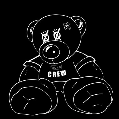 Black and white illustration of a teddy bear