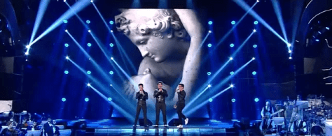 Left to right: Gianluca Ginoble, Ignazio Boschetto and Piero Barone singing on stage at Sanremo