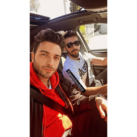 Gianluca in a car with Ignazio at the steering wheel