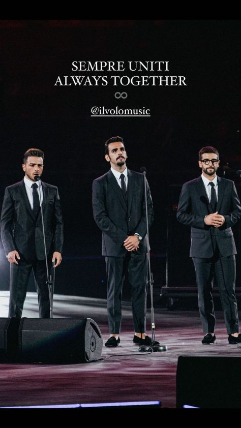 Left to right: Gianluca, Ignazio and PIero on stage. The message is SEMPRE UNITI - ALWAYS TOGETHER