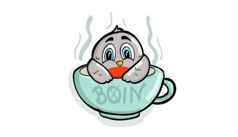 Color illustration of a bird in a cup of hot liquid