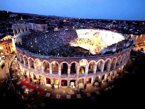Overhead view of Verona Arena