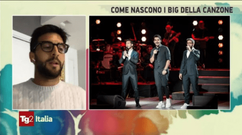 Piero speaking and IL VOLO singing side-by-side on screen