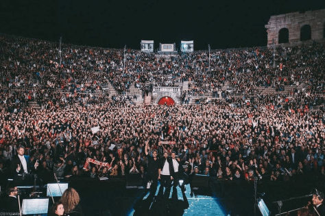 The guys on stage in the Verona Arena
