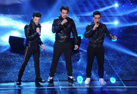 Left to right: Gianluca, Ignazio and Piero singing on stage