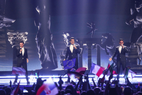 Left to right: Gianluca, Ignazio and Piero on the stage singing at Eurovision