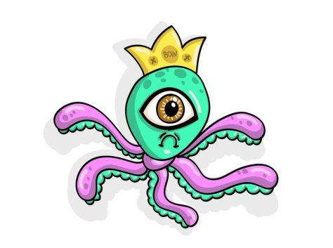 Color illustration of an alien with five legs and a crown