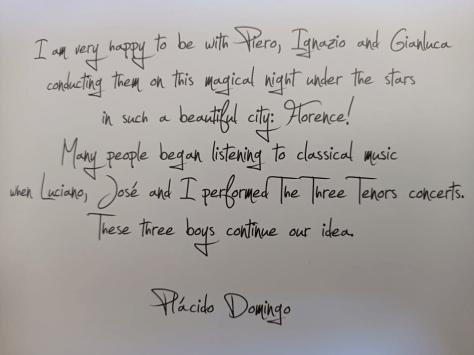 Message to IL VOLO from Placido Domingo