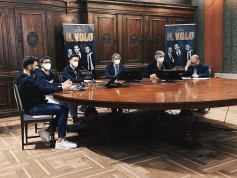 Ignazio, Piero and Gianluca with the mayor of Verona sitting around a round table