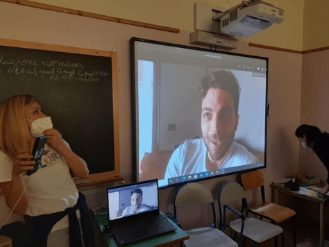 Gianluca speaking remotely to the fifth grade classes in Abruzzo