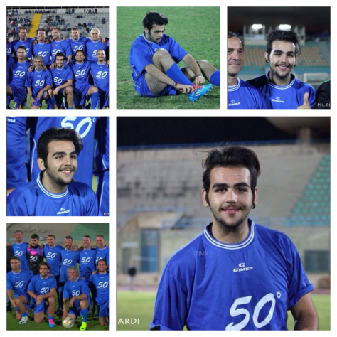Collage of Ignazio with the soccer team