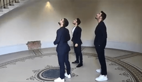 Piero, Gianluca and Ignazio looking up inside a building