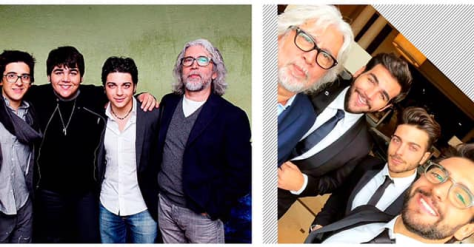 Two photos of Michele with IL VOLO, one younger and one current