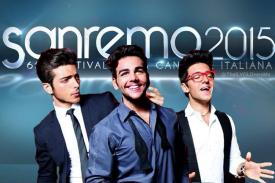 Left to right: Gianluca, Ignazio and Piero in front of a Sanremo 2015 sign