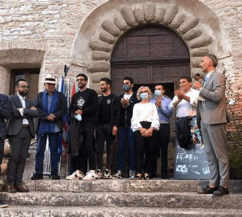 The Mayor, Vittorio Storaro and Ignazio, Gianluca and Piero opening the event