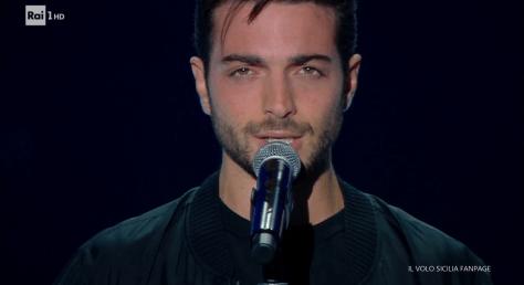 Closeup of Gianluca singing
