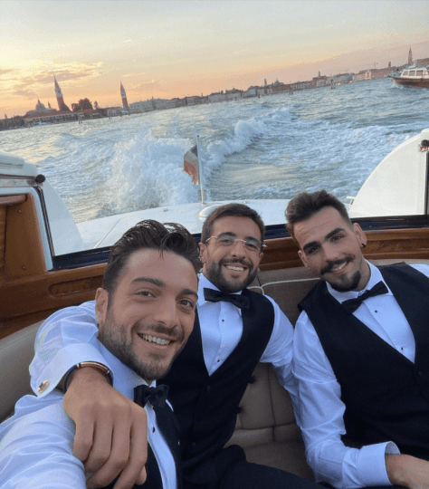 IL VOLO riding in their water taxi