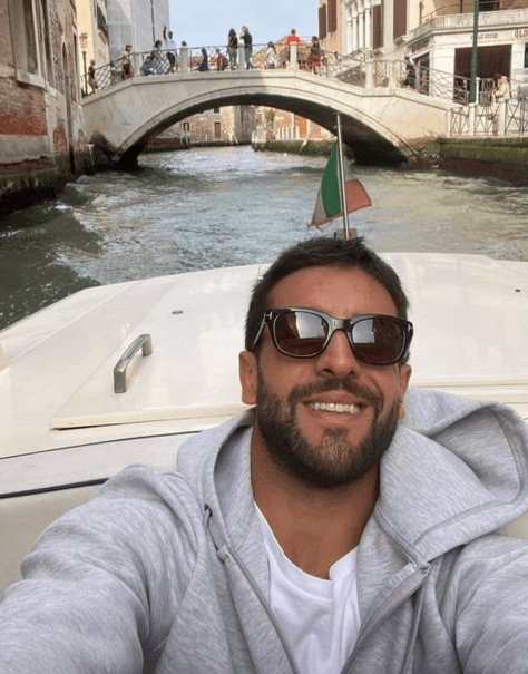 Piero in a boat on the Venice grand canal