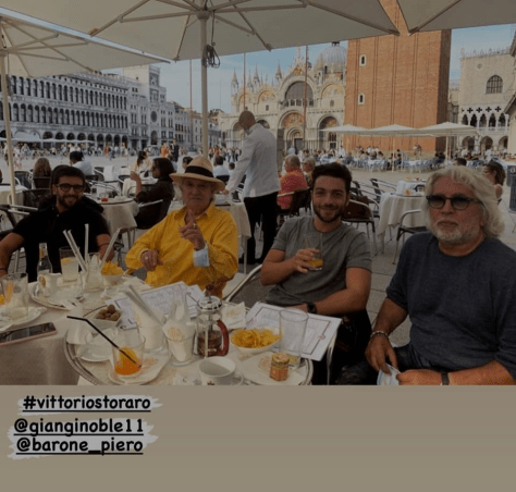 Piero and Gianluca In St. Mark's square, with Storaro and Torpedine.