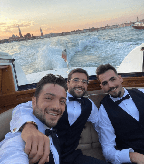 Left to right: Gianluca, Piero and Ignazio in a boat on the Venice grand canal