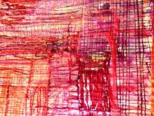 """Tekstil collage """"den røde Passion"""""""