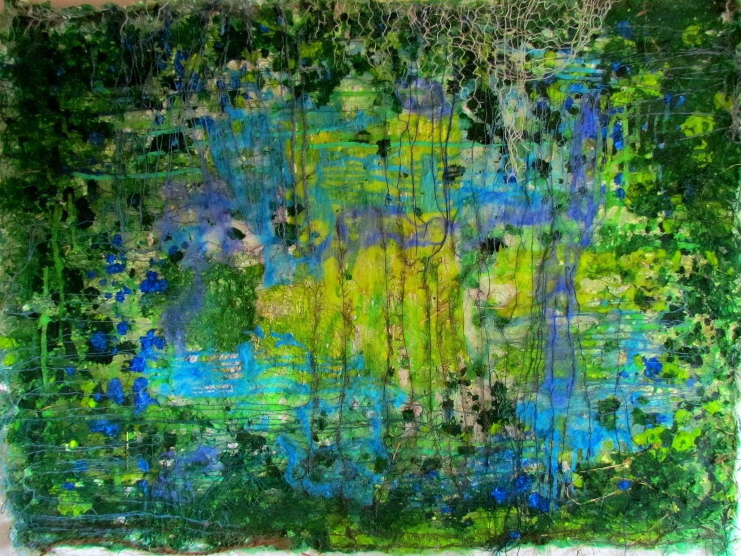 """Tekstil collage """"Den grønne verden"""""""