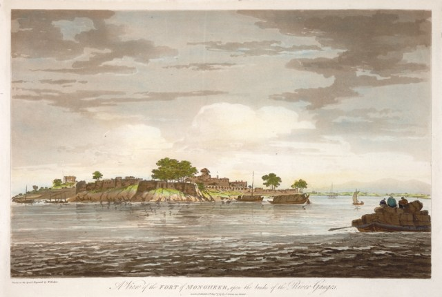 Majestic view of the Fort of Munger, upon the banks of the Ganges River as painting by